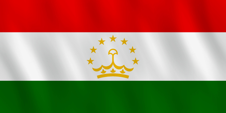 Tajikistan flag with waving effect, official proportion.