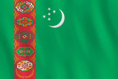 Turkmenistan flag with waving effect, official proportion.