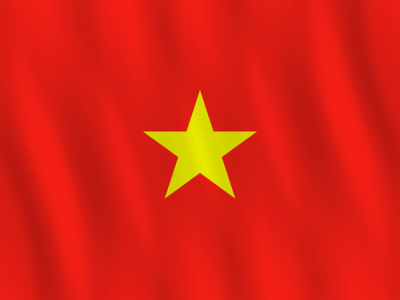 Vietnam flag with waving effect, official proportion.