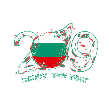 Happy New 2019 Year with flag of Bulgaria. Holiday grunge vector illustration.