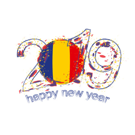 Happy New 2019 Year with flag of Romania. Holiday grunge vector illustration.