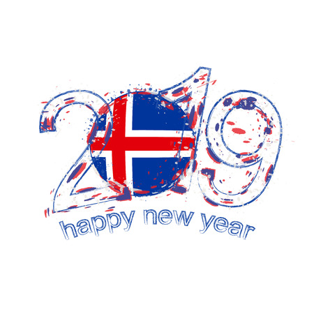 Happy New 2019 Year with flag of Iceland. Holiday grunge vector illustration.