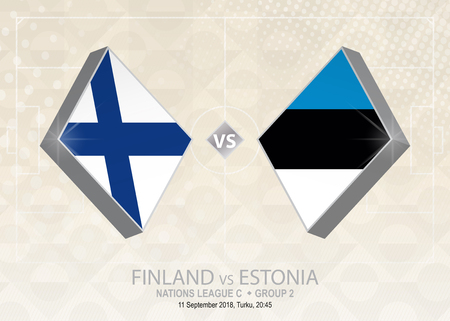Finland vs Estonia, League C, Group 2. Europe football competition on beige soccer background.