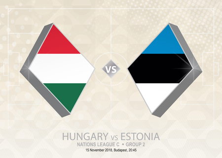 Hungary vs Estonia, League C, Group 2. Europe football competition on beige soccer background.