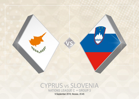 Cyprus vs Slovenia, League C, Group 3. Europe football competition on beige soccer background.