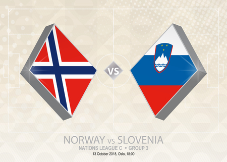 Norway vs Slovenia, League C, Group 3. Europe football competition on beige soccer background.