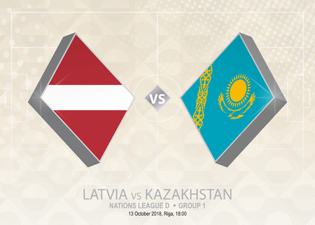 Latvia vs Kazakhstan, League D, Group 1. Europe football competition on beige soccer background.