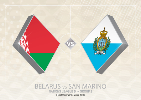 Belarus vs San Marino, League D, Group 2. Europe football competition on beige soccer background. Ilustração