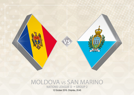 Moldova vs San Marino, League D, Group 2. Europe football competition on beige soccer background.