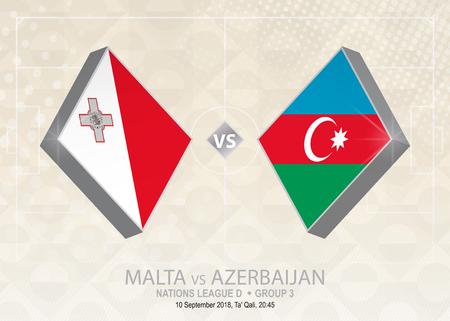 Malta vs Azerbaijan, League D, Group 3. Europe football competition on beige soccer background. 일러스트