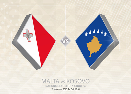 Malta vs Kosovo, League D, Group 3. Europe football competition on beige soccer background.
