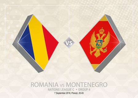 Romania vs Montenegro, League C, Group 4. Europe football competition on beige soccer background.