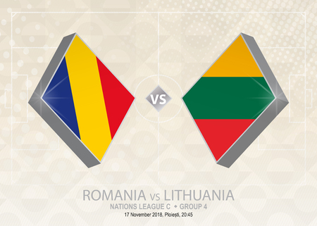 Romania vs Lithuania, League C, Group 4. Europe football competition on beige soccer background.