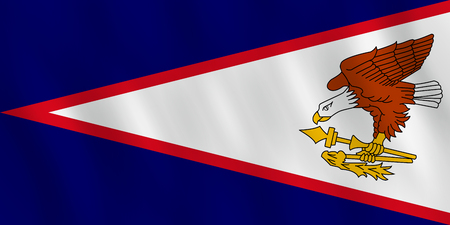 American Samoa flag with waving effect, official proportion.