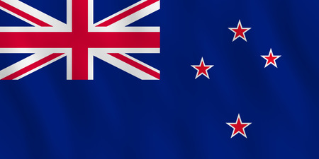 New Zealand flag with waving effect, official proportion. Illustration