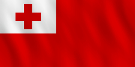 Tonga flag with waving effect, official proportion. Illustration