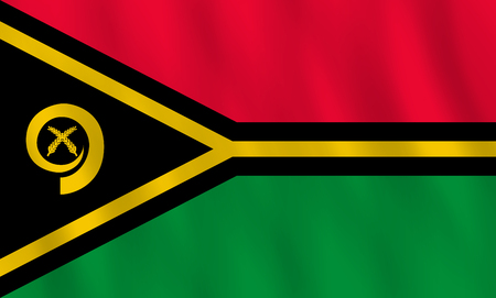 Vanuatu flag with waving effect, official proportion.