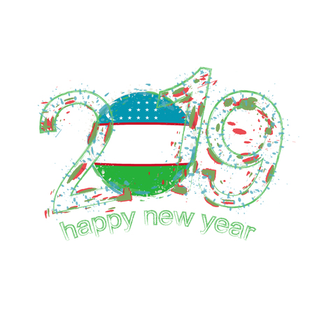 Happy New 2019 Year with flag of Uzbekistan. Holiday grunge vector illustration.