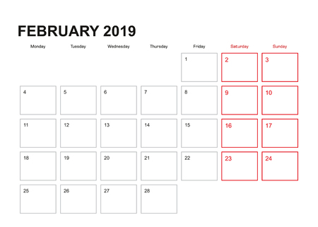 Wall planner for February 2019 in English language, week starts in Monday.