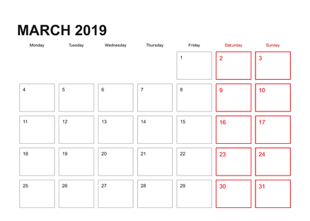 Wall planner for March 2019 in English language, week starts in Monday.