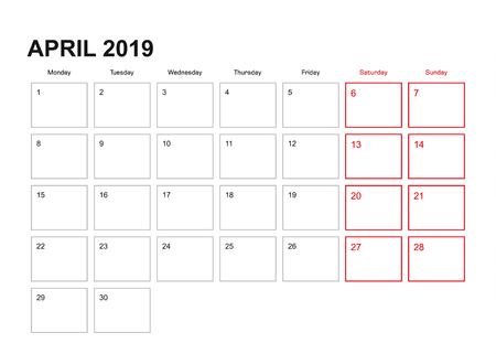 Wall planner for April 2019 in English language, week starts in Monday. Illustration
