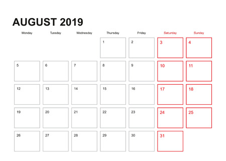 Wall planner for August 2019 in English language, week starts in Monday.