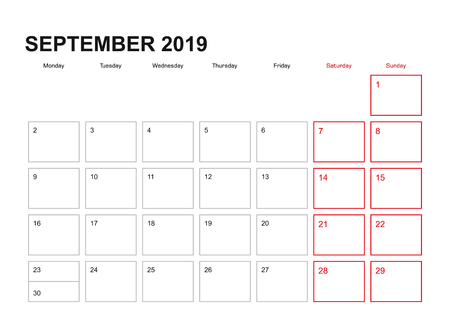 Wall planner for September 2019 in English language, week starts in Monday.