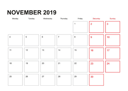 Wall planner for November 2019 in English language, week starts in Monday. Illustration