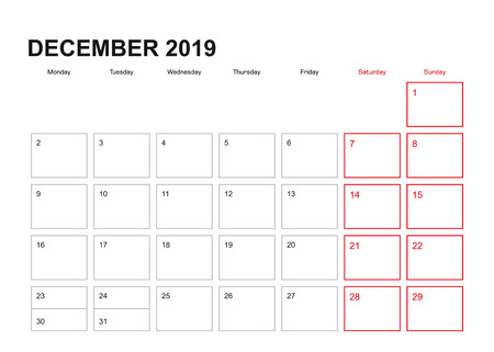 Wall planner for December 2019 in English language, week starts in Monday.