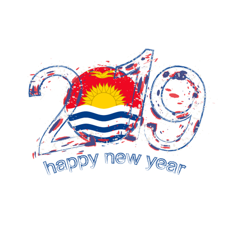 Happy New 2019 Year with flag of Kiribati. Holiday grunge vector illustration. Illustration