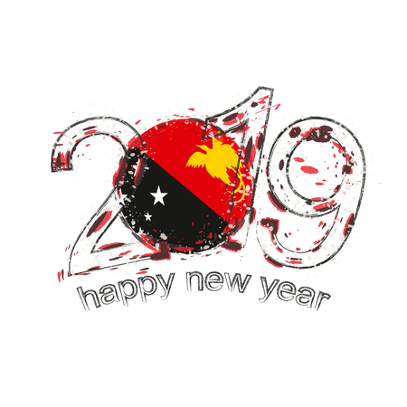 Happy New 2019 Year with flag of Papua New Guinea. Holiday grunge vector illustration.