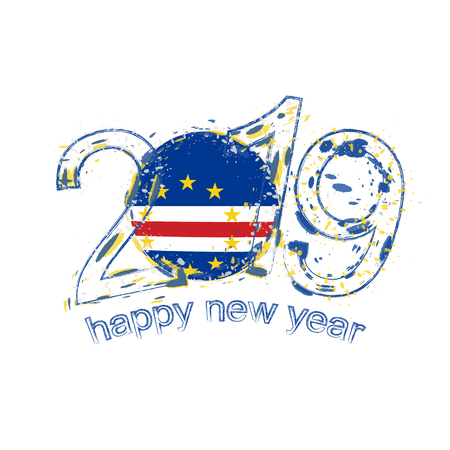 Happy New 2019 Year with flag of Cape Verde. Holiday grunge vector illustration. Vectores