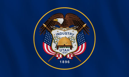 Utah US state flag with waving effect, official proportion.