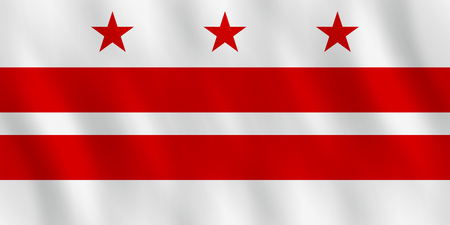 District of Columbia flag with waving effect, official proportion. Illustration