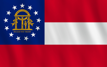 Georgia US state flag with waving effect, official proportion.