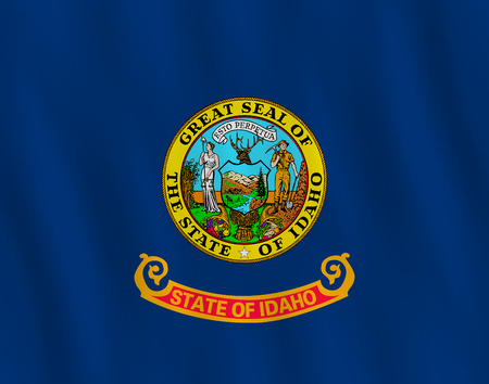 Idaho US state flag with waving effect, official proportion.