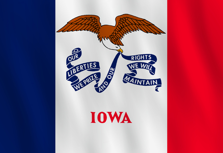 Iowa US state flag with waving effect, official proportion.