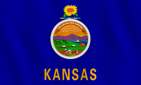 Kansas US state flag with waving effect, official proportion.