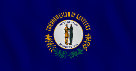 Kentucky US state flag with waving effect, official proportion. Illustration
