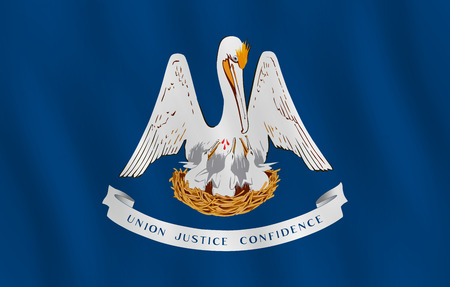 Louisiana US state flag with waving effect, official proportion. Illustration