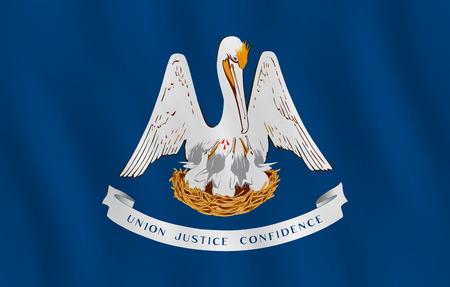 Drapeau de l'état américain de la Louisiane avec effet d'agitation, proportion officielle.