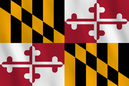 Maryland US state flag with waving effect, official proportion.