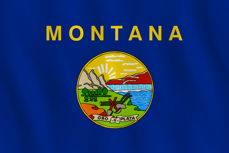Montana US state flag with waving effect, official proportion.