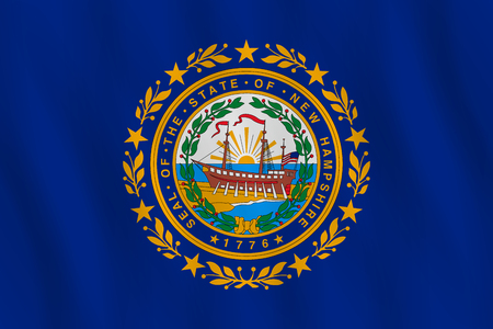 New Hampshire US state flag with waving effect, official proportion.