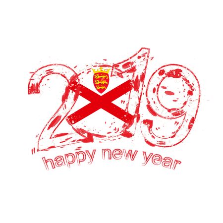 Happy New 2019 Year with flag of Jersey. Holiday grunge vector illustration.