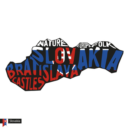 Typography map silhouette of Slovakia in black and flag colors. Vector Illustration.