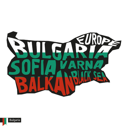 Typography map silhouette of Bulgaria in black and flag colors. Vector Illustration.
