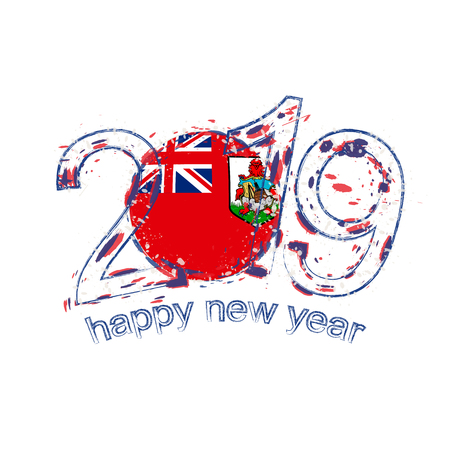 Happy New 2019 Year with flag of Bermuda. Holiday grunge vector illustration.