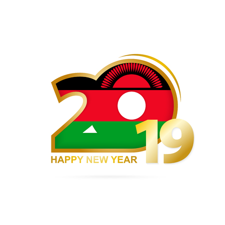 Year 2019 with Malawi Flag pattern. Happy New Year Design. Vector Illustration.