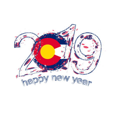 Happy New 2019 Year with flag of Colorado US State. Holiday grunge vector illustration.